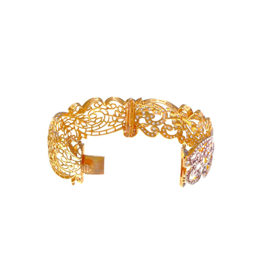 Handmade 22k gold Kada with cubic zirconia