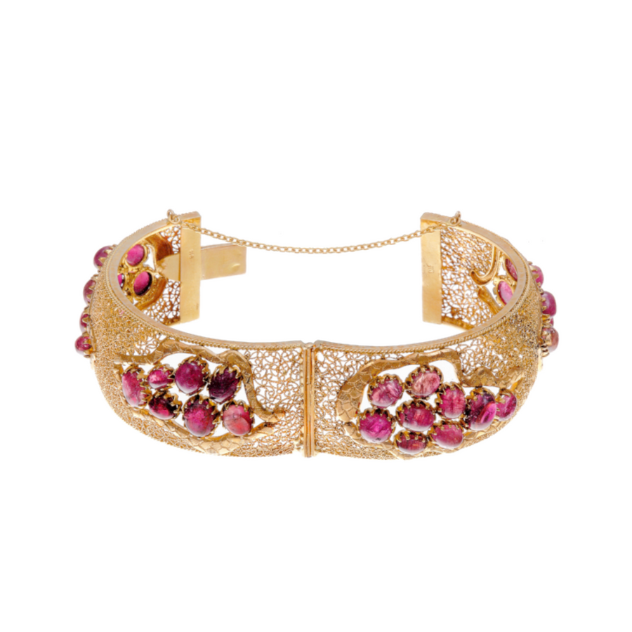 Handcrafted 22k gold kara with pink tourmaline in matte finish.