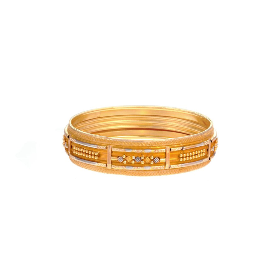 Gold Kara with Rhodium design in 22k