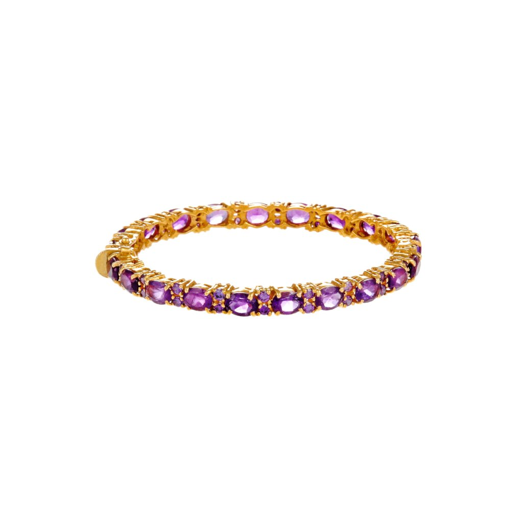 Sleek and Stylish Kara studded with Amethyst in 22k gold