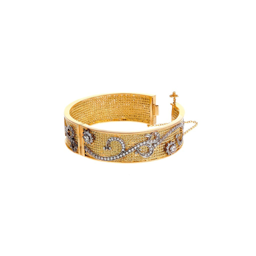 Stylish Kara with intricate work and studded with Cubic Zirconia made in 22k gold