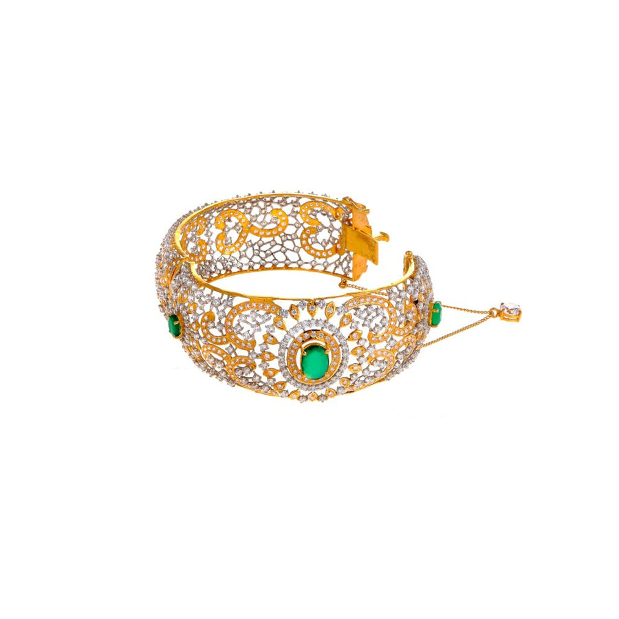 Studded kara with Emeralds and Cubic Zirconia made in 22k gold