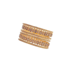 Studded Smokey Quartz Bangles in Antique Finish in 22k gold