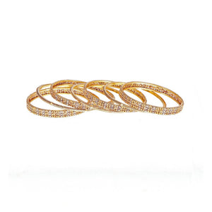 7-Piece Bangles Set with Rhodium polish and Antique Finish in 22k gold