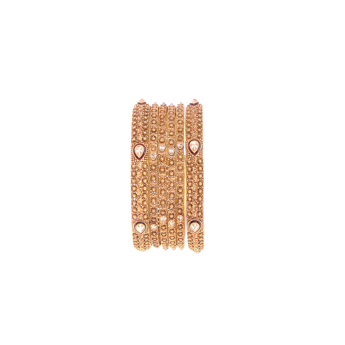 6-Piece Bangles Set with Cubic Zirconia in 22k gold