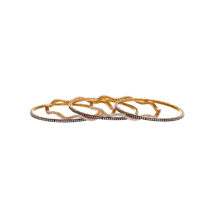 5-Piece Bangles Set Studded with Cubic Zirconia and Finished in Rhodium Polish in 22k gold