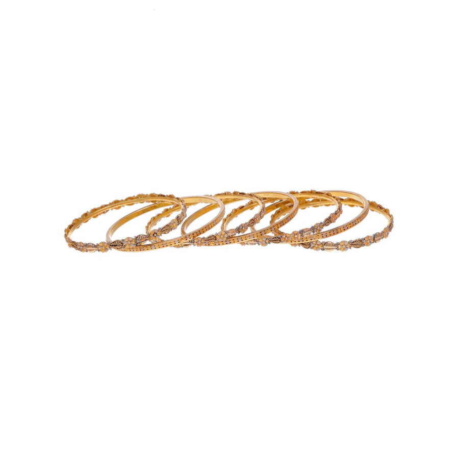 7-Piece Bangles Set with 3-Tone Finish in 21k gold