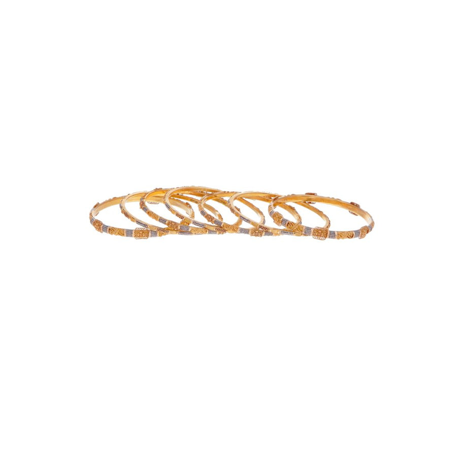 7-Piece Bangles set with Rhodium & Rose Gold Finish in 22k gold