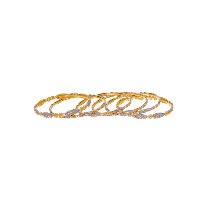 6-Piece Bangles Set with Rhodium Polishing and Matte Finish in 22k gold