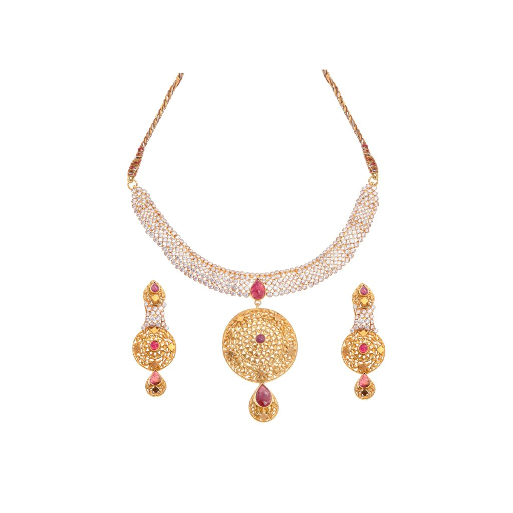 Pink Tourmaline & Cubic Zirconia Necklace Set in 22k gold