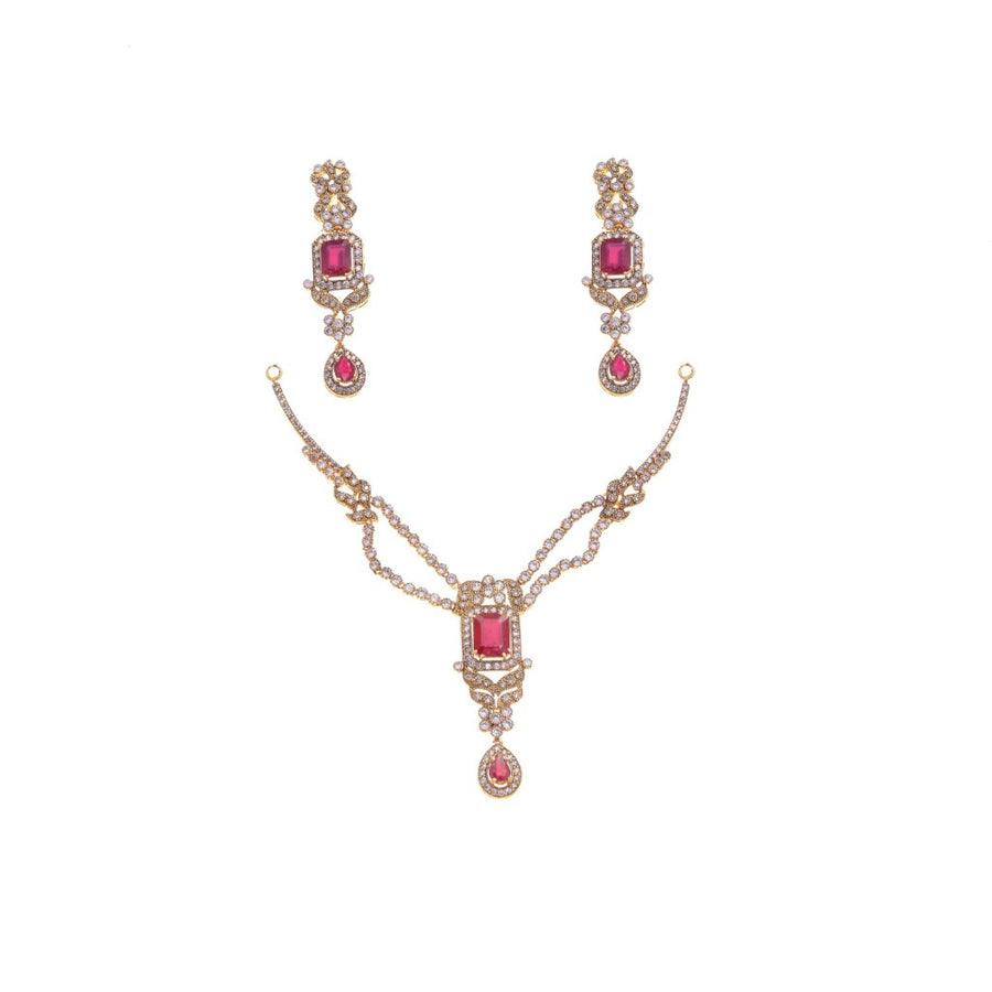 Ruby & Cubic Zirconia Necklace Set in 22k gold