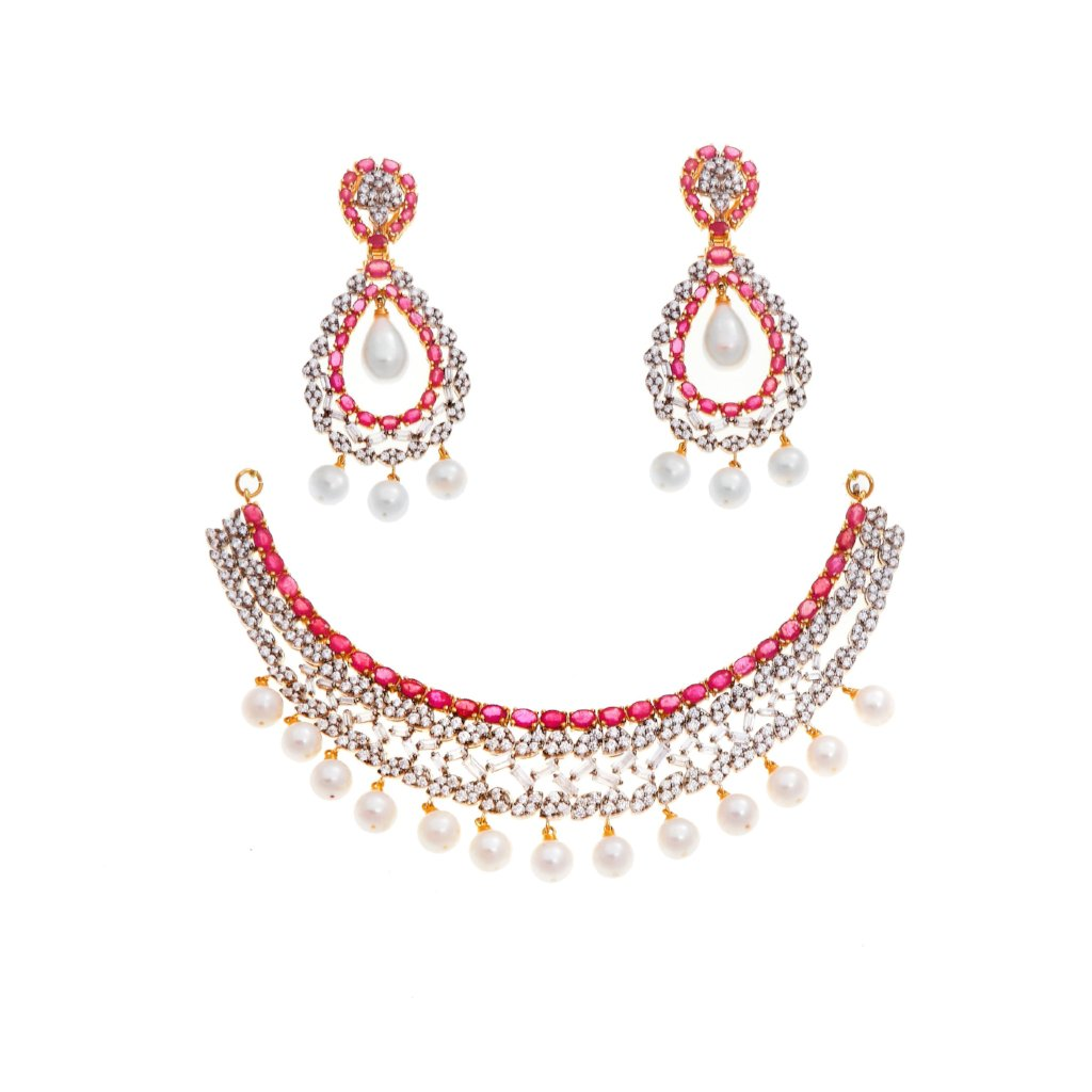 Necklace Set with Rubies, Pearls, & Cubic Zirconia Gemstones set in 22k gold