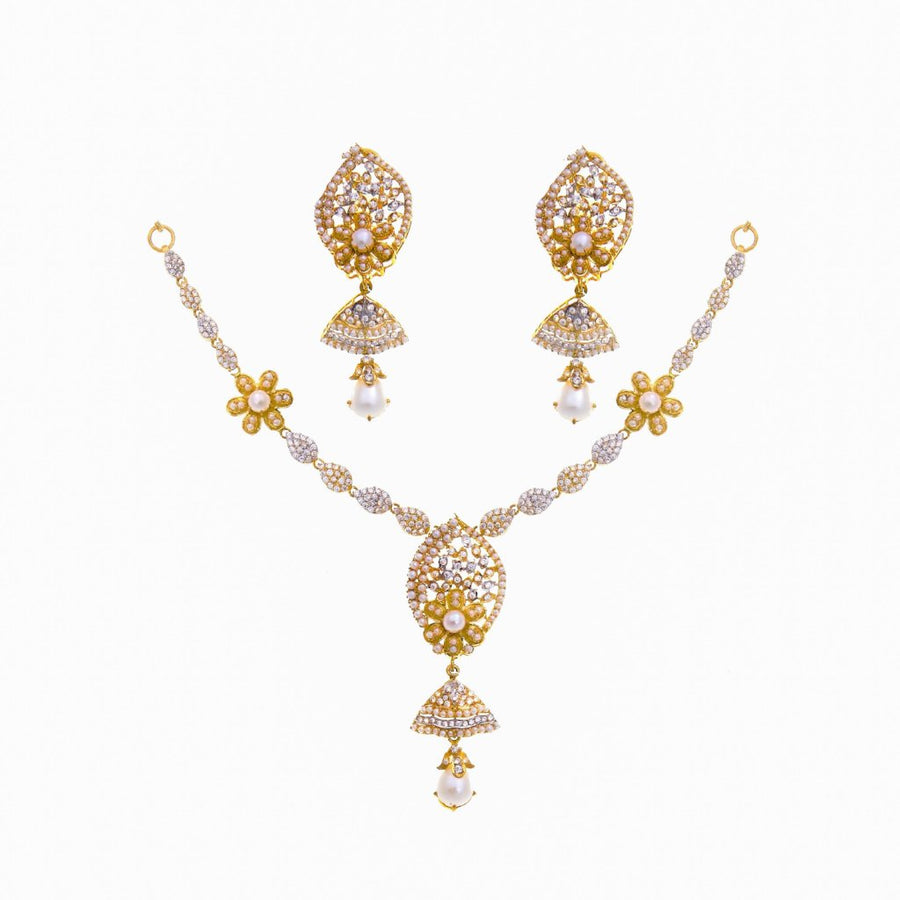 Pearls and Zirconia Necklace Set in 22k gold
