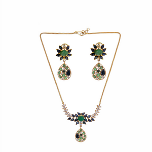 Emerald, Sapphire,& Cubic Zirconia Studded Necklace Set in 22k gold