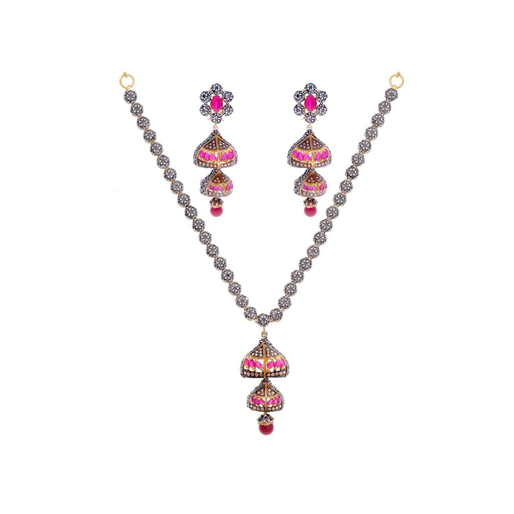 Contemporary Studded Set with Rubies and Smokey Quartz in 22k Gold