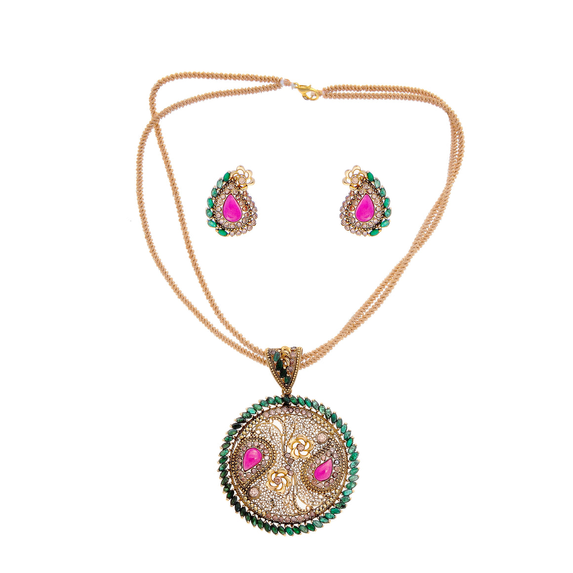 Ruby and Emerald Pendant Set in 22K gold