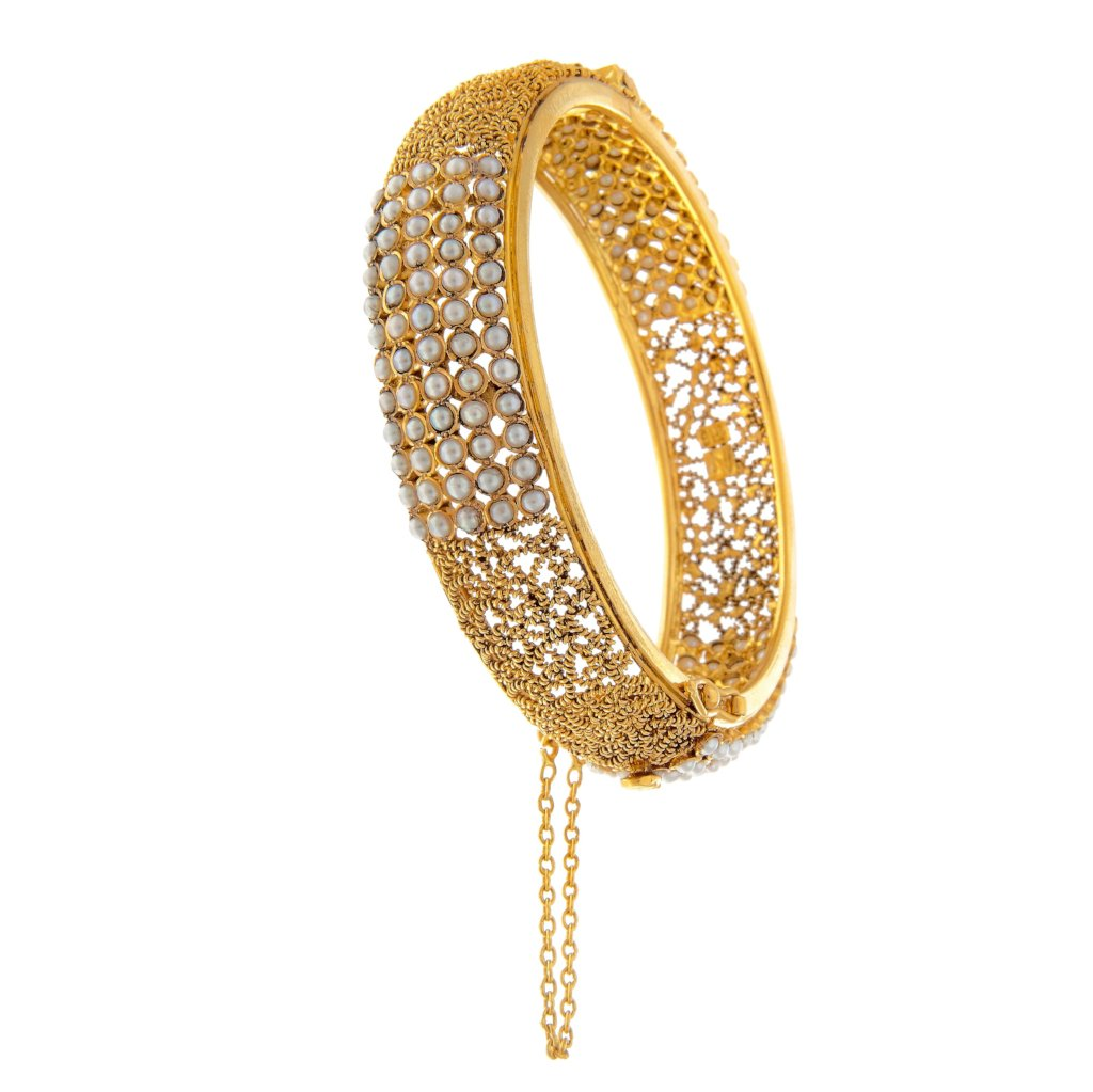 Skillfully crafted filigree kara with pearls in matte finish made in 22k gold