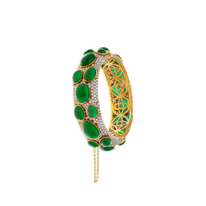 Bold Kara with grandiose Jade and cubic zirconia made in 22k gold