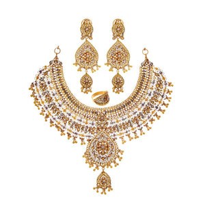 Elegant bridal set with large earrings and 3-tone finish made in 22k gold