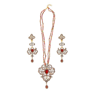 Glamorous Garnet, Tourmalines, and Polki necklace set with stunning earrings made in 22k gold