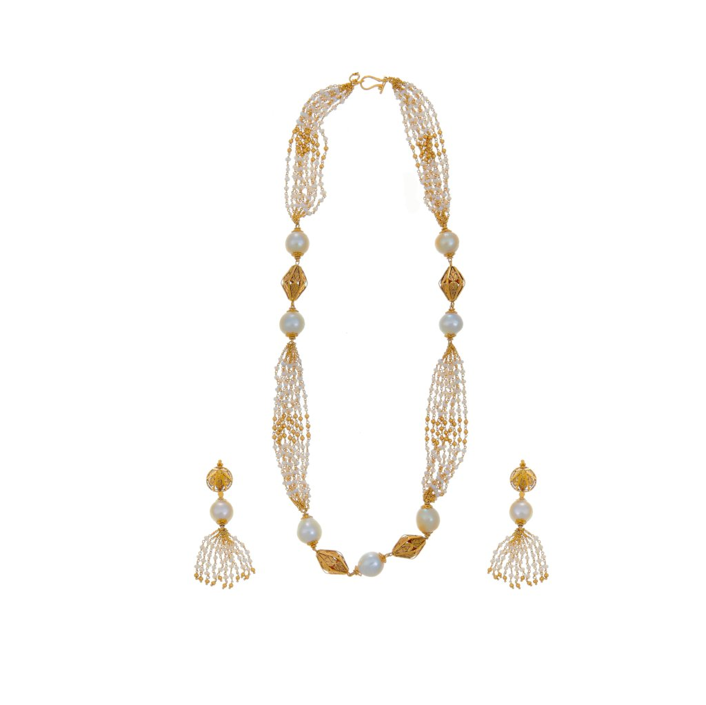 Stylish Pearl necklace set with earrings in 22k gold