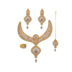 Bridal Set with large earrings, tika, sahara, and ring, made in 21k gold with Matte finish.
