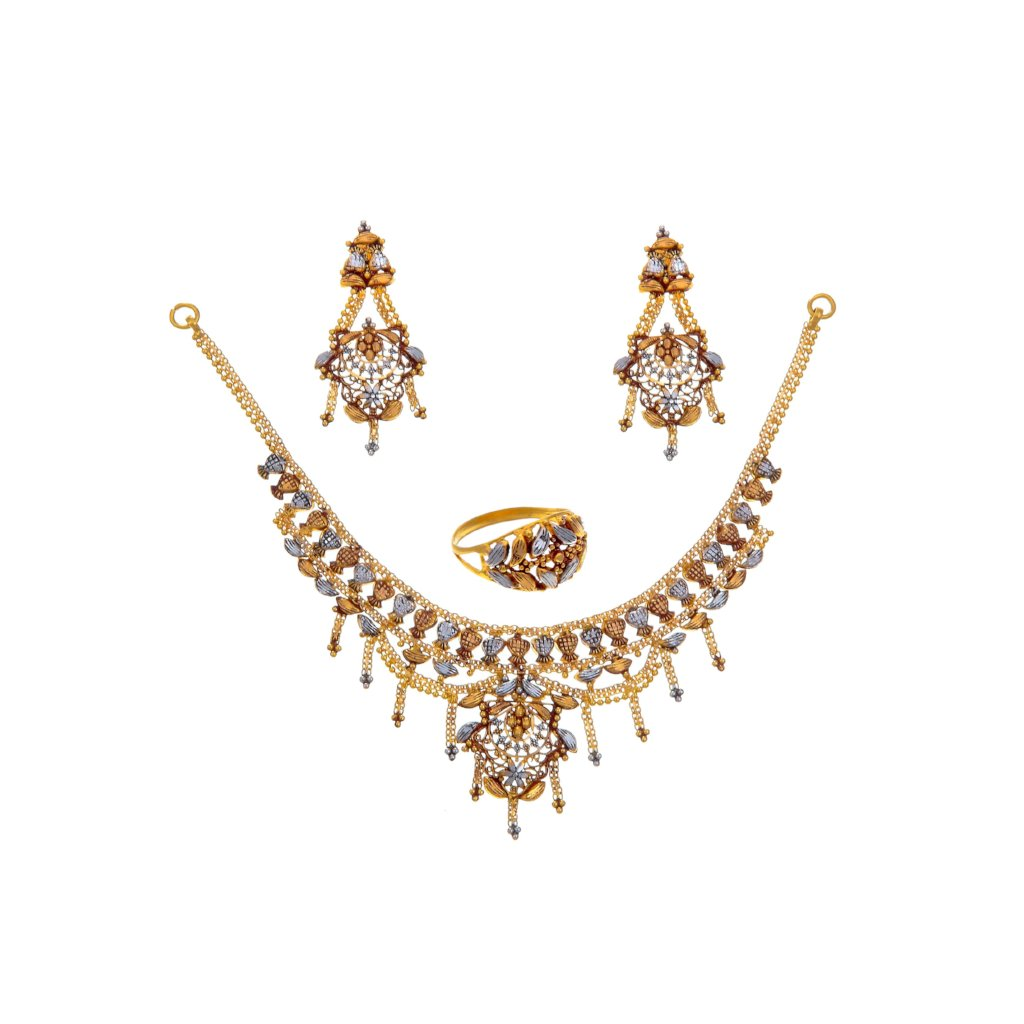 3-Tone Bridal set with Rhodium, Copper, and Yellow Gold finishing