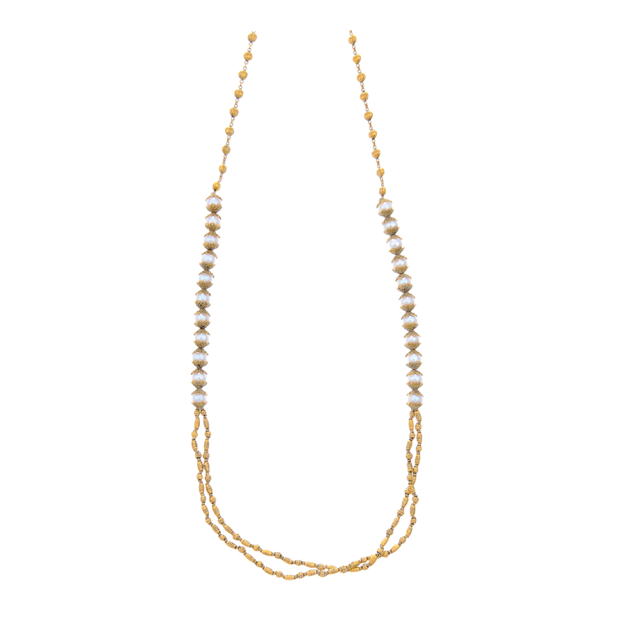Stylish mala with unblemished pearls made in 22k gold