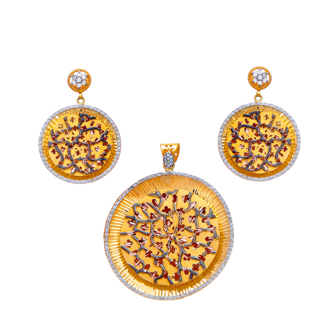 Pendant set with cubic zirconia and beatiful mina artwork. Made in 22k gold.
