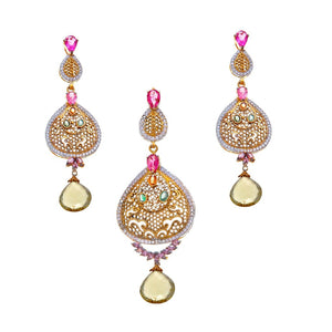 Multi-Color Tourmaline and Cubic Zirconia Pendant Set in 22k Gold
