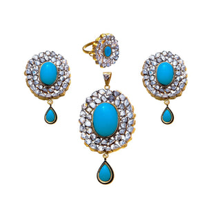Handmade Kundan and Turquoise Pendant Set with Ring in 22k gold