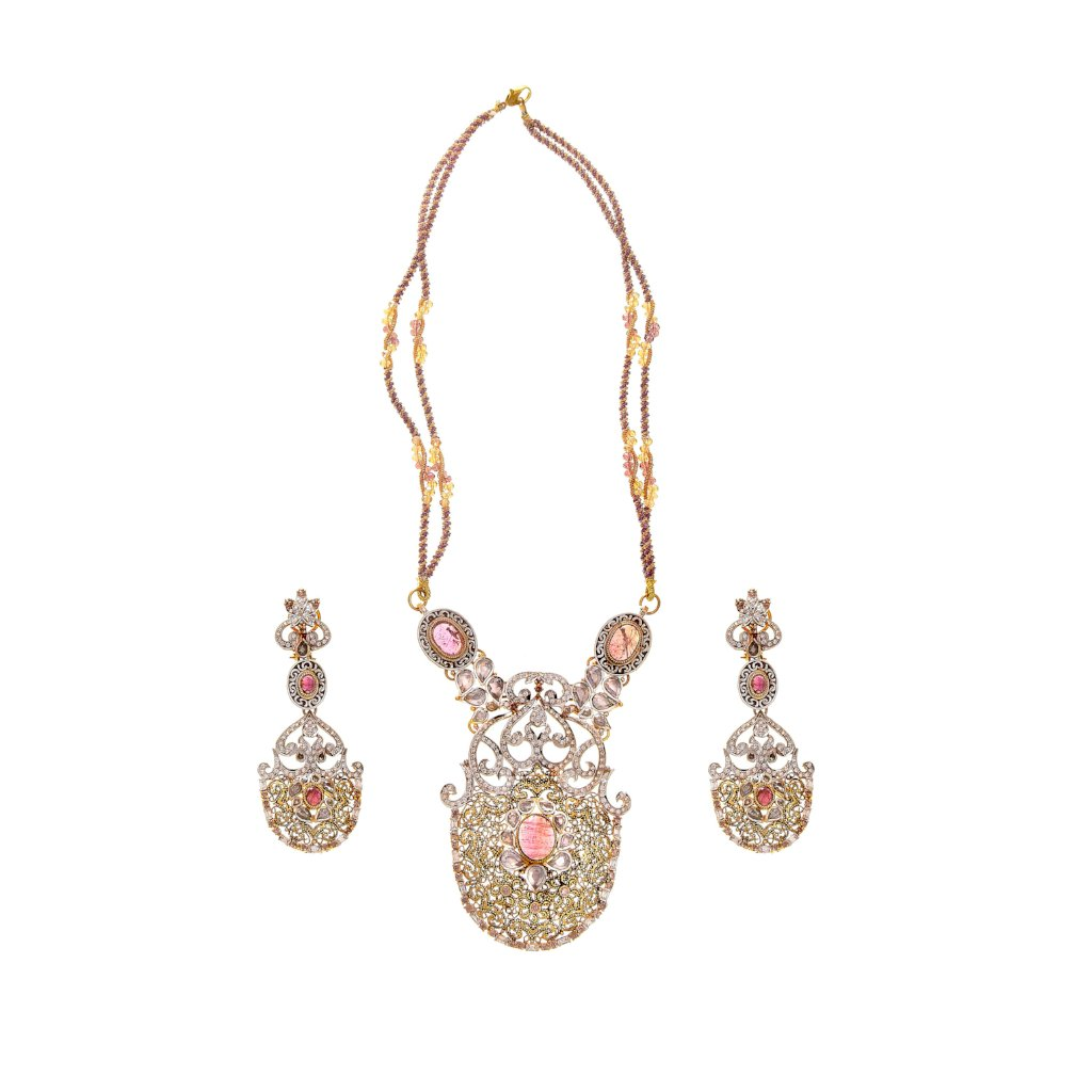 Glittering Pink Tourmaline, Polki, & Cubic Zirconia necklace set made in 22k gold