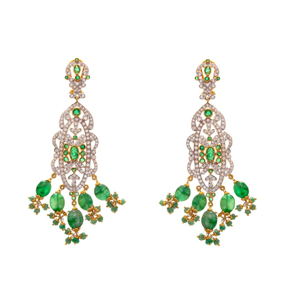 Eye Catching Emerald Earrings made in 22k gold