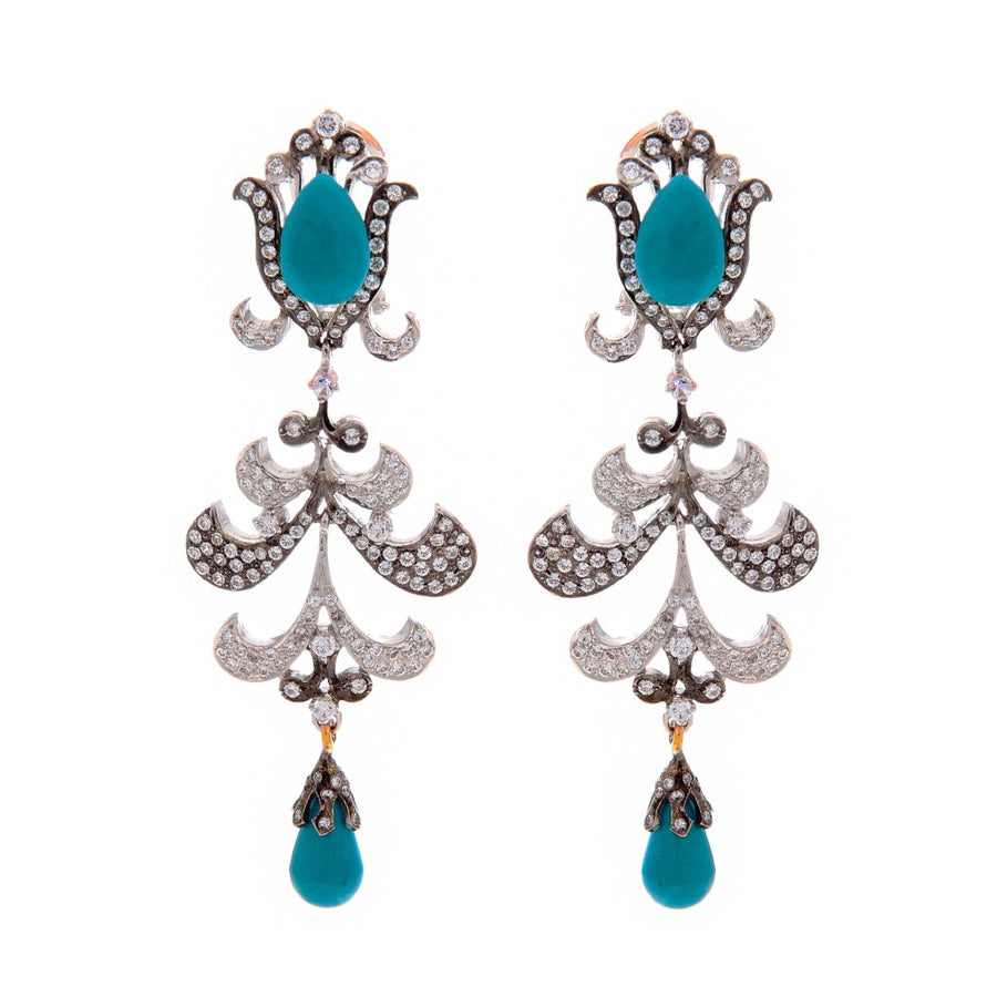 Bold Turquoise earrings made in 22k gold with dark and light rhodium finish