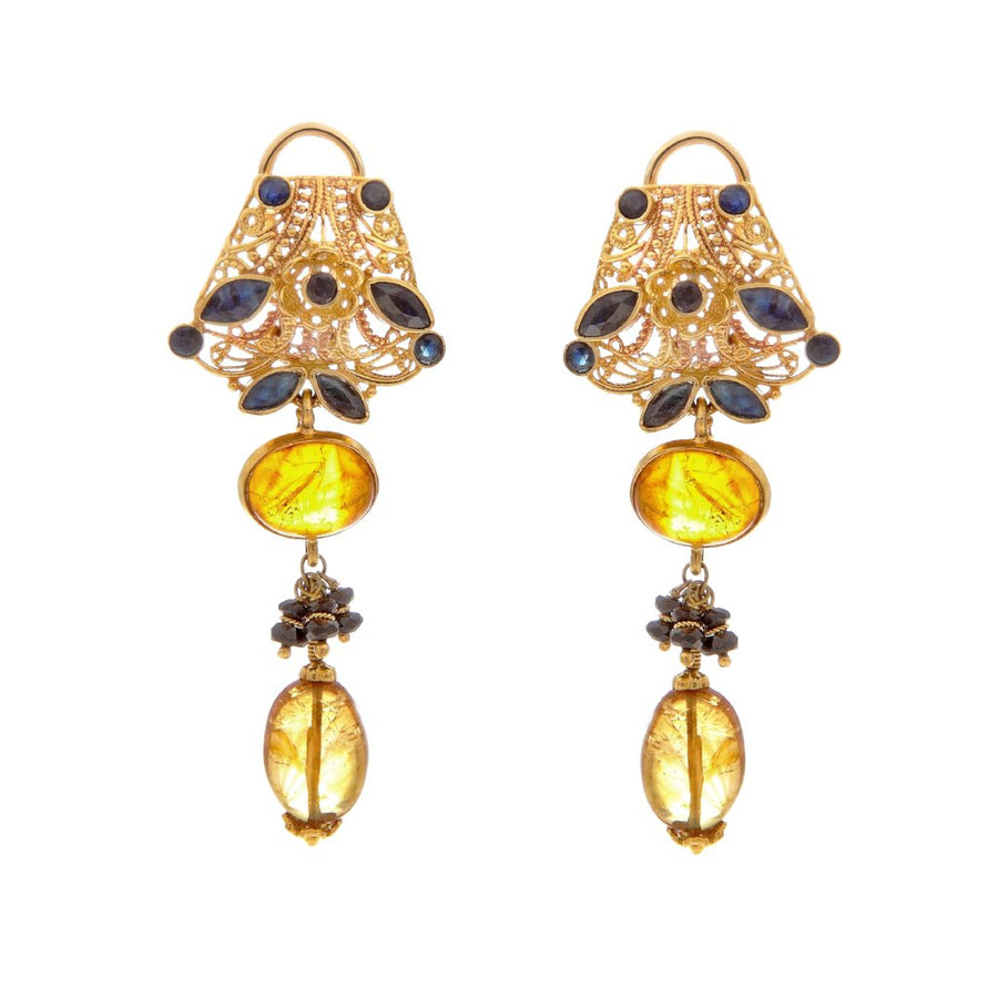 Trendsetting Sapphire and Amber earrings made in 22k gold