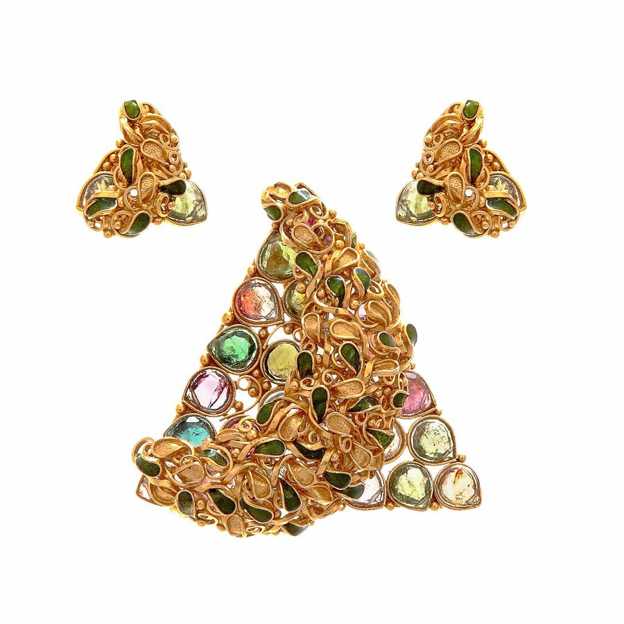 Triangular Shaped Pink & Green Tourmaline, & Smokey Quartz Pendant Set in 22k Gold