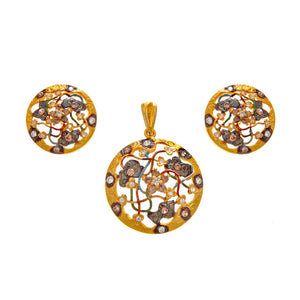 Smokey Quartz & Cubic Zirconia Pendant Set With Mina in 22k gold