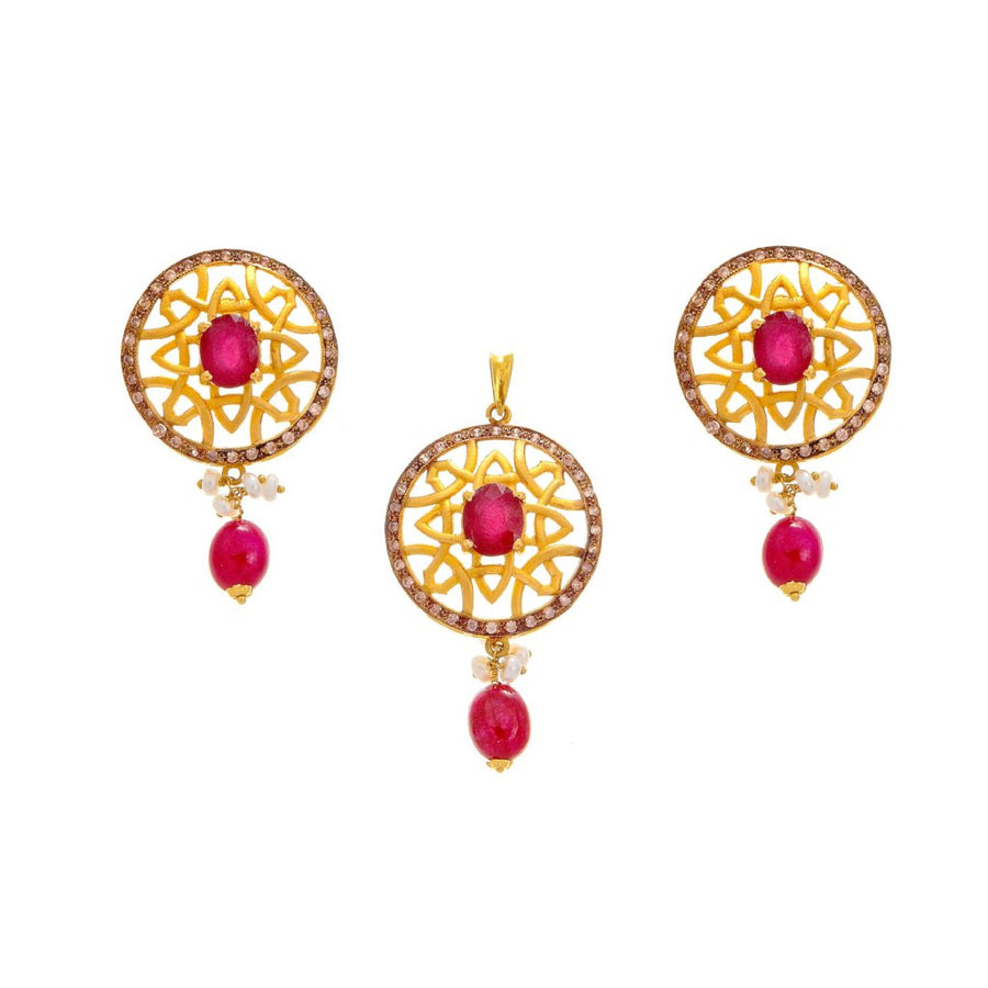 Stunning Pendant Set With Rubies, Pearls, & Cubic Zirconia in 22k gold