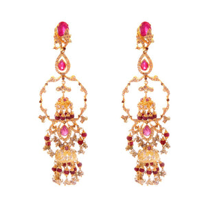 Traditional earrings studded with rubies made in 22k gold