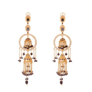 Double Jumka earrings with Sapphires made in 22k gold