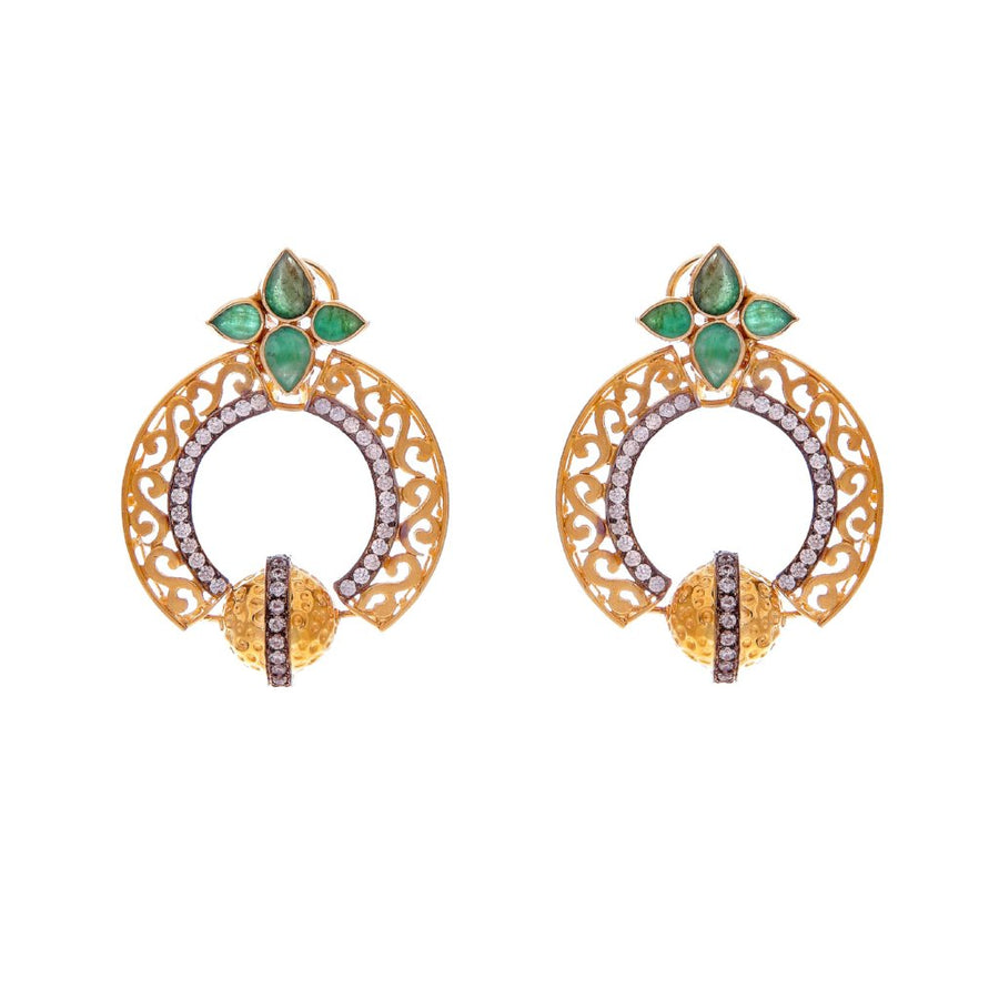 Stunning Emerald and CZ earrings with filigree work, handmade in 22 karat gold