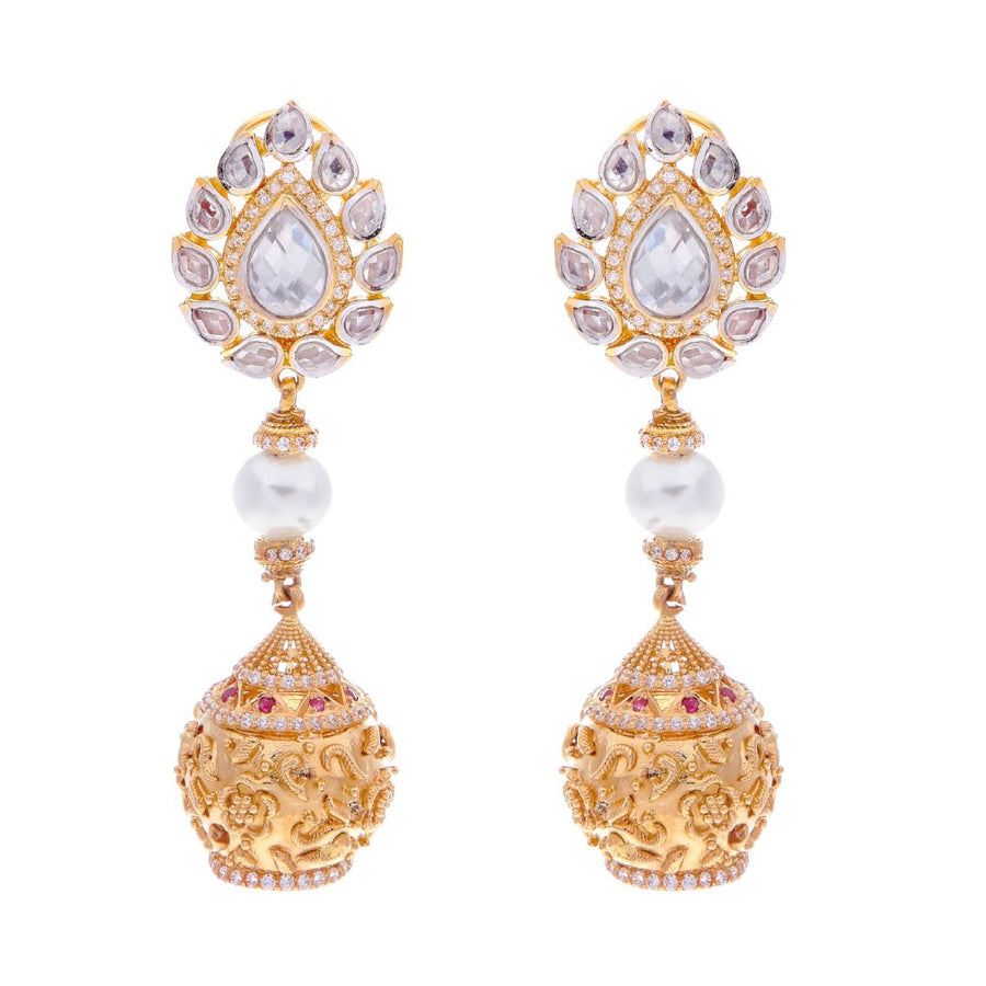 Exquisite Pearls, CZ and Polki earrings handmade in 22 karat gold