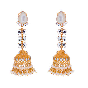 Luxurious Mother of Pearls, Pearls, and Kundan earrings made in 22 karat gold