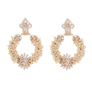 Breathtaking Pearl earrings handmade in 22k gold