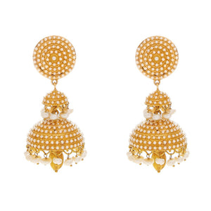Classic Bali Jhumka with Pearls handmade in 22 karat gold