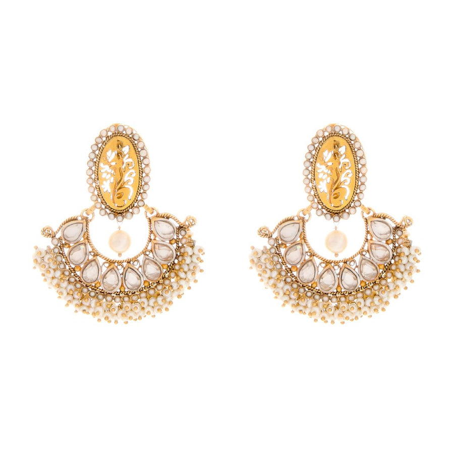 Pretty Pearls and Kundan Earrings handcrafted in 22 karat gold
