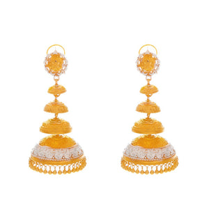 Layered Jhumka finished in 2-tone made in 22 karat gold