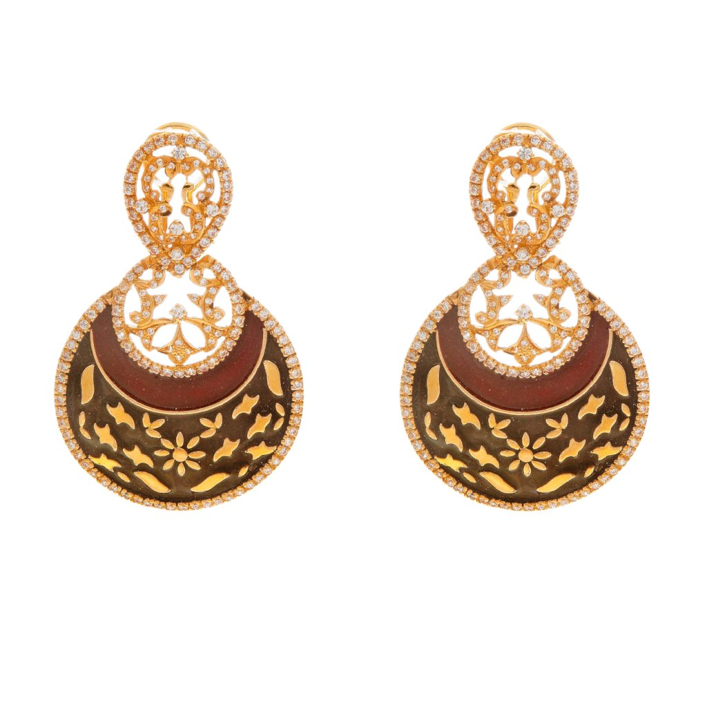 Earrings with meticulous Red and Black Mina work made in 22 karat gold