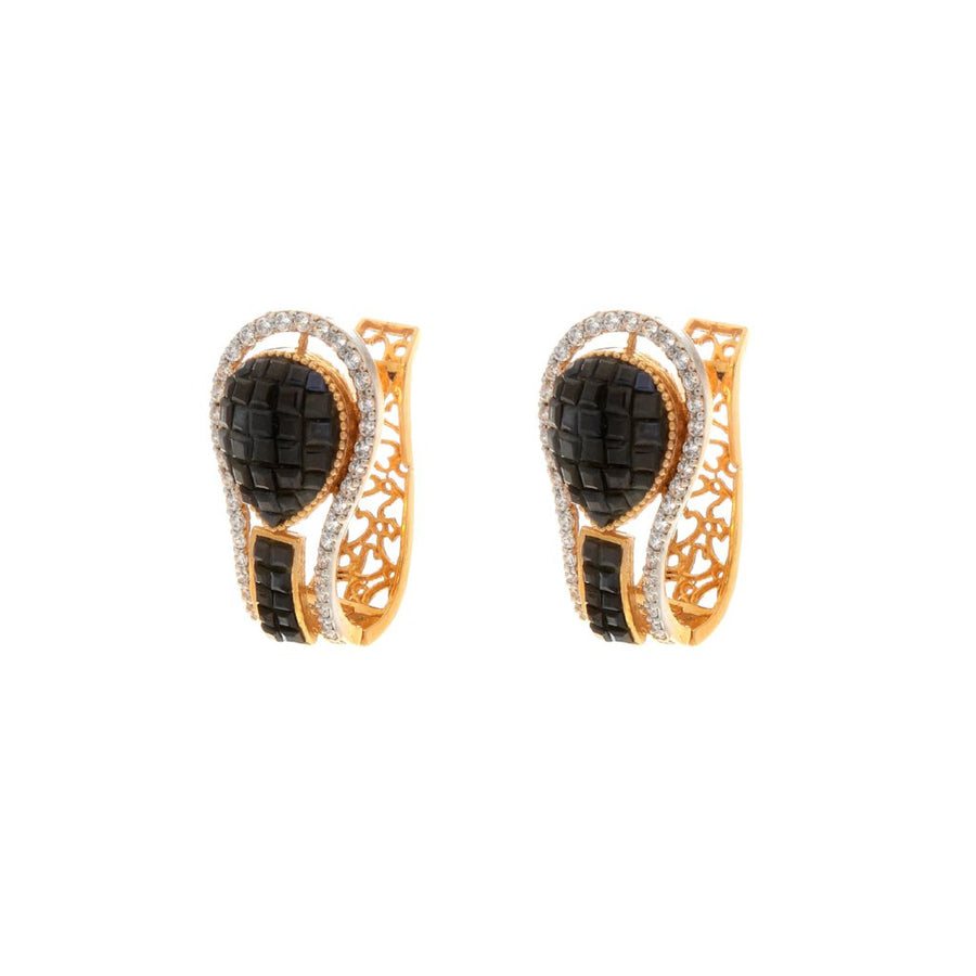 Contemporary Dark Blue Sapphire Earrings made in 22 karat gold