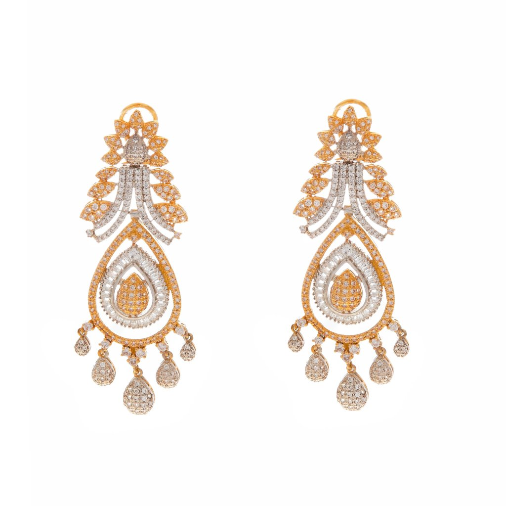 Dazzling CZ earrings finished in 2-tone made in 22 karat gold